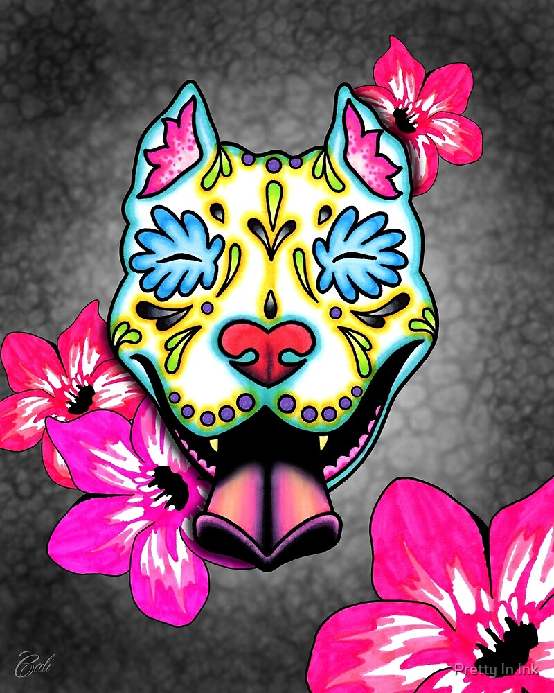Slobbering Pit Bull - Day of the Dead Sugar Skull Pitbull Dog by Pretty In Ink