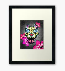 Slobbering Pit Bull - Day of the Dead Sugar Skull Pitbull Dog Framed Print