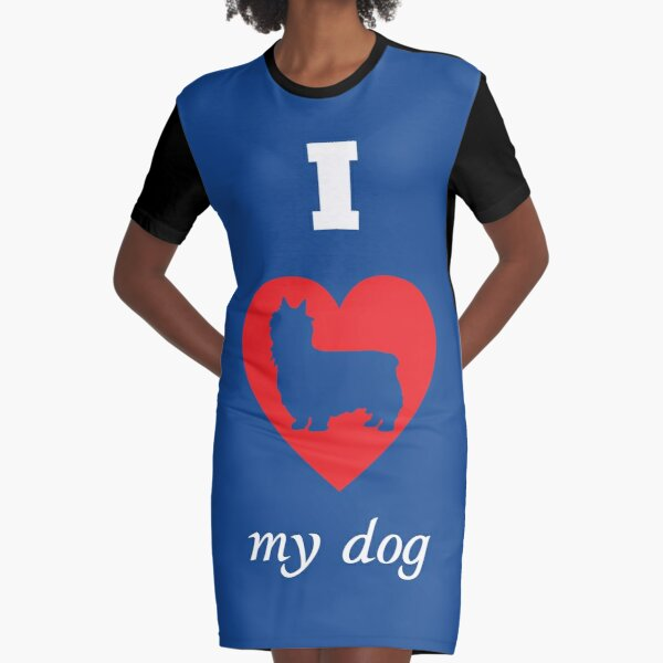 Silky Terrier - I Love My Dog Graphic T-Shirt Dress