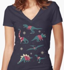 Dinos In Sweaters Women's Fitted V-Neck T-Shirt