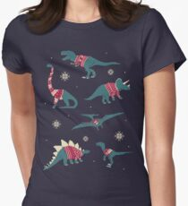 Dinos In Sweaters Women's Fitted T-Shirt