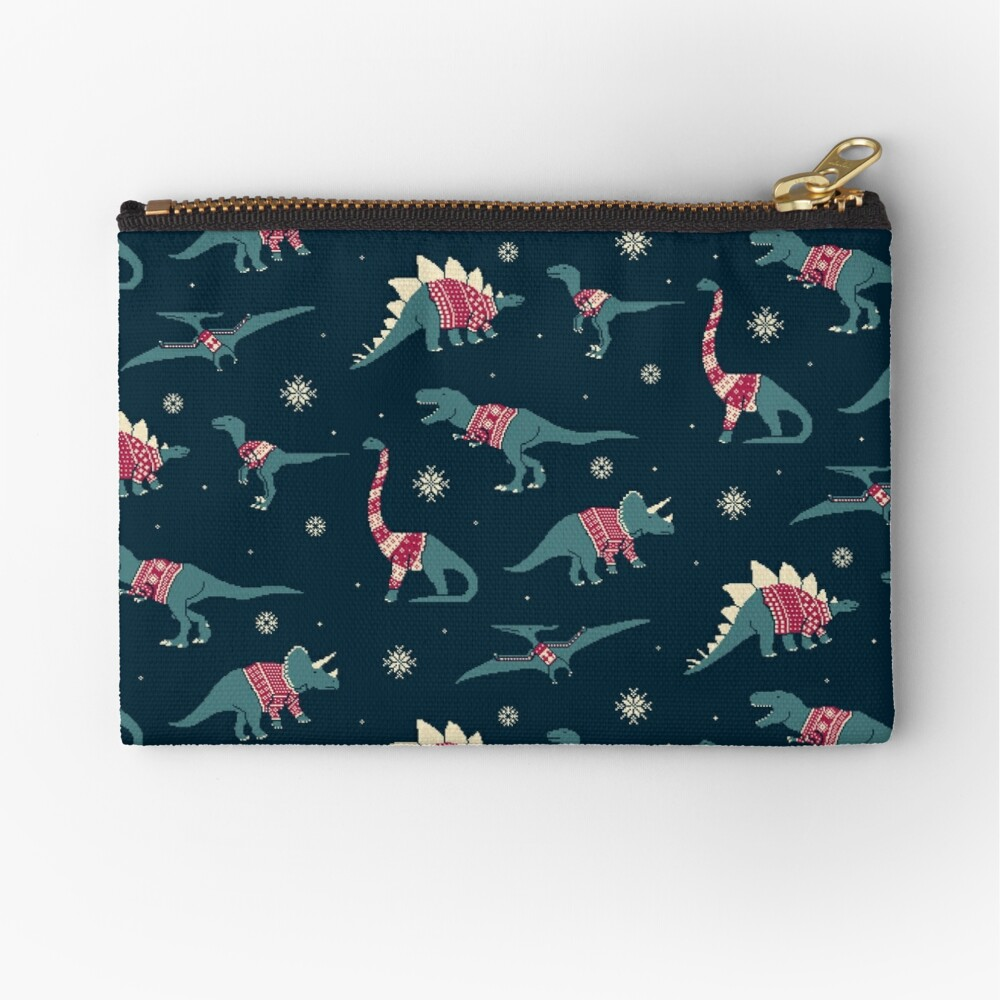 Dinos In Sweaters Zipper Pouch