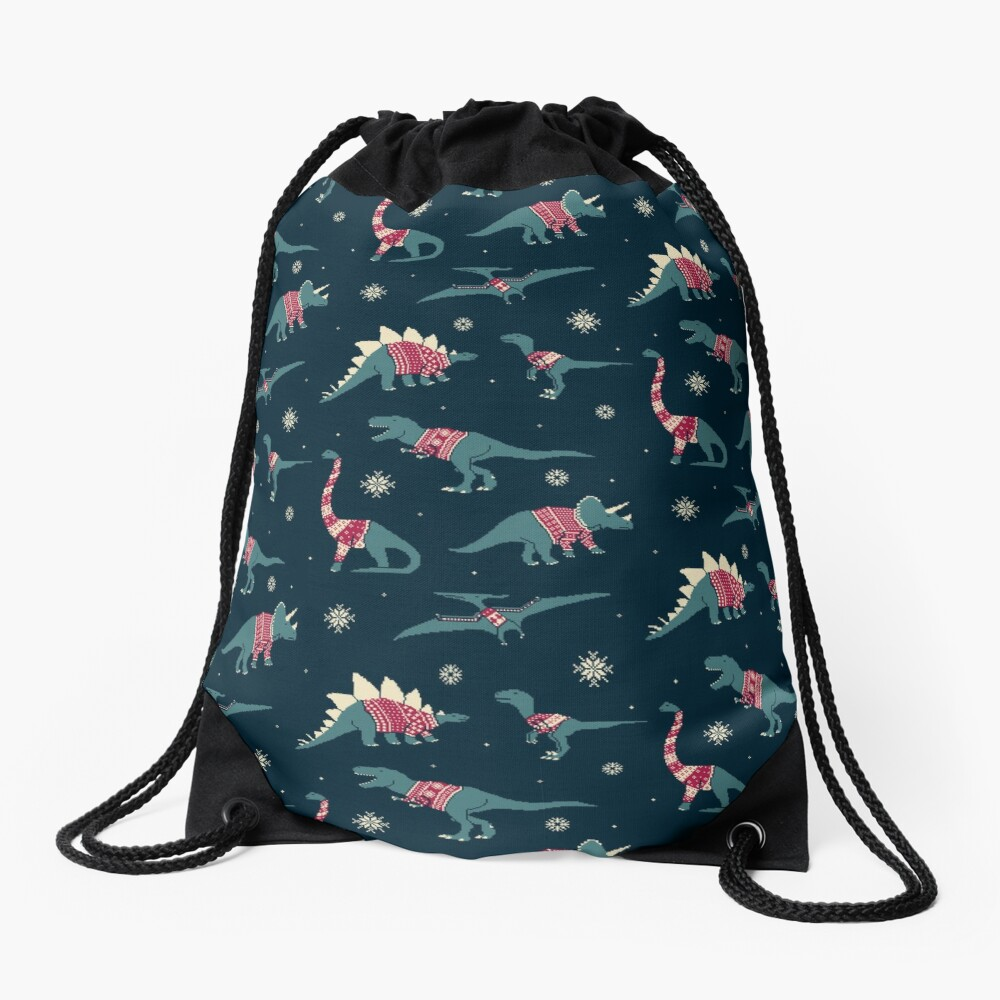 Dinos In Sweaters Drawstring Bag