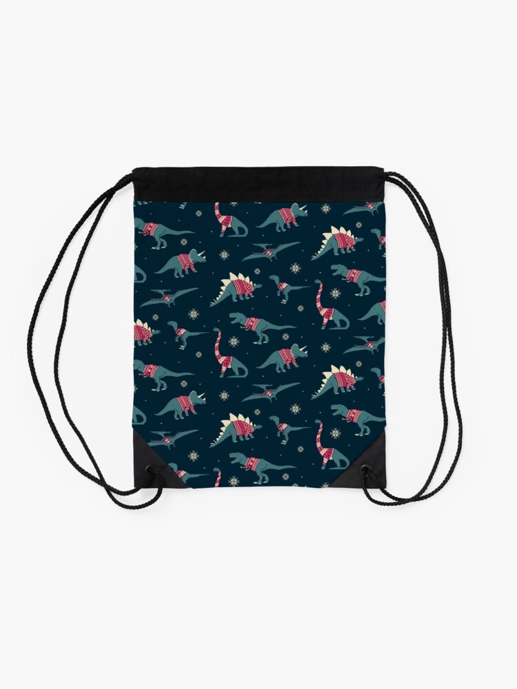 Alternate view of Dinos In Sweaters Drawstring Bag
