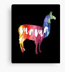 Mama Llama, Watercolor, Aquarell Canvas Print