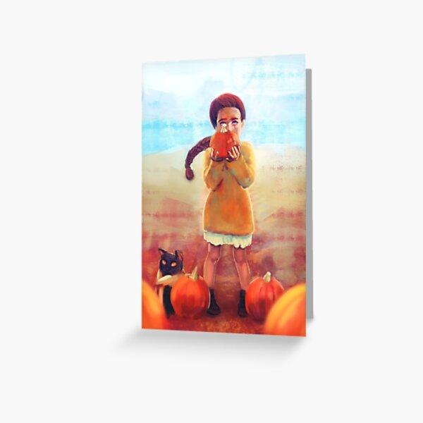Pumpkin Girl - Autumn - Halloween Greeting Card