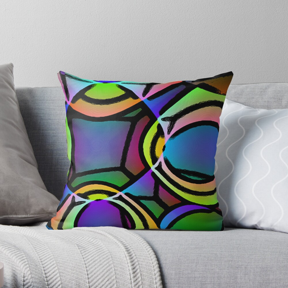 BIG BRIGHT MUTICOLOR NEON ABSTRACT POP ART STYLE PATTERN FOR HOME DECOR AND CLOTHING Throw Pillow