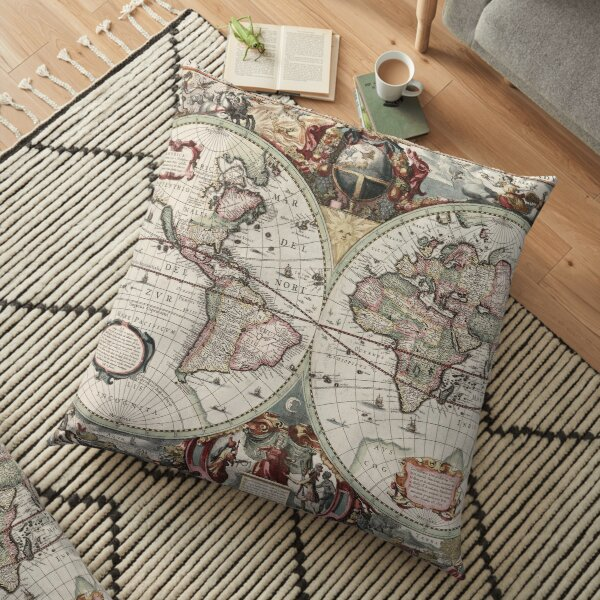 Vintage Maps Of The World. Geographic and Hydrographic Map of the Whole World Floor Pillow