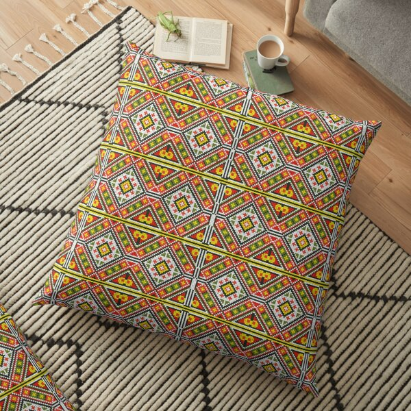 Palestinian Embroidery Pattern 3 Floor Pillow
