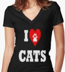 I love cats Women's Fitted V-Neck T-Shirt
