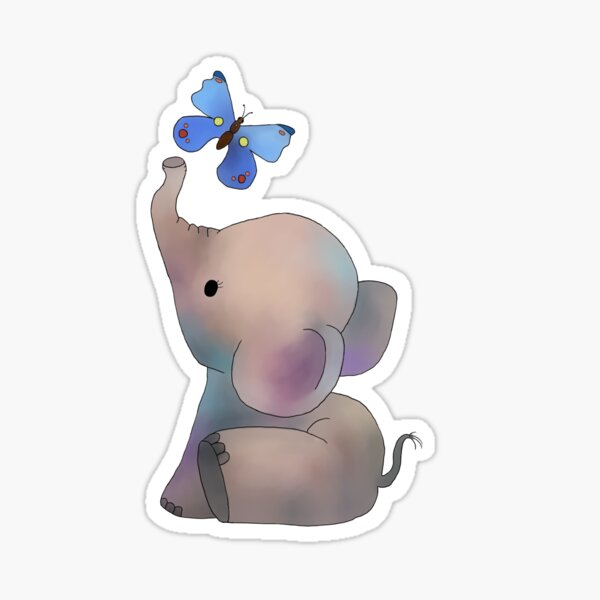 Elephant with a butterfly Sticker