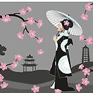 Geisha unter Kirschblüten von WACHtraum