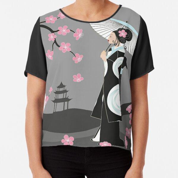 Geisha unter Kirschblüten Chiffon Top