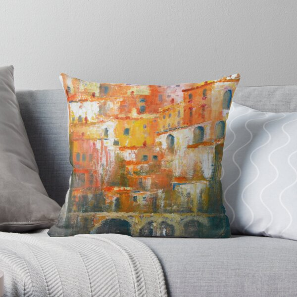 Impression Of Cinque Terre. Throw Pillow