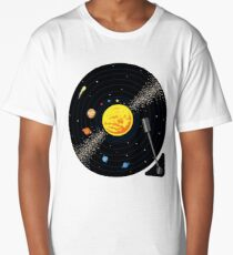 Solar System Vinyl Record Long T-Shirt