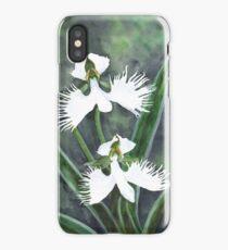 White egret orchid flowers (Habenaria Radiata) iPhone Case/Skin