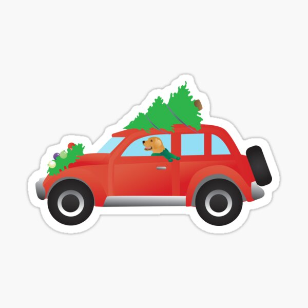Golden Retriever Dog Driving Christmas Car with Tree on Top Sticker