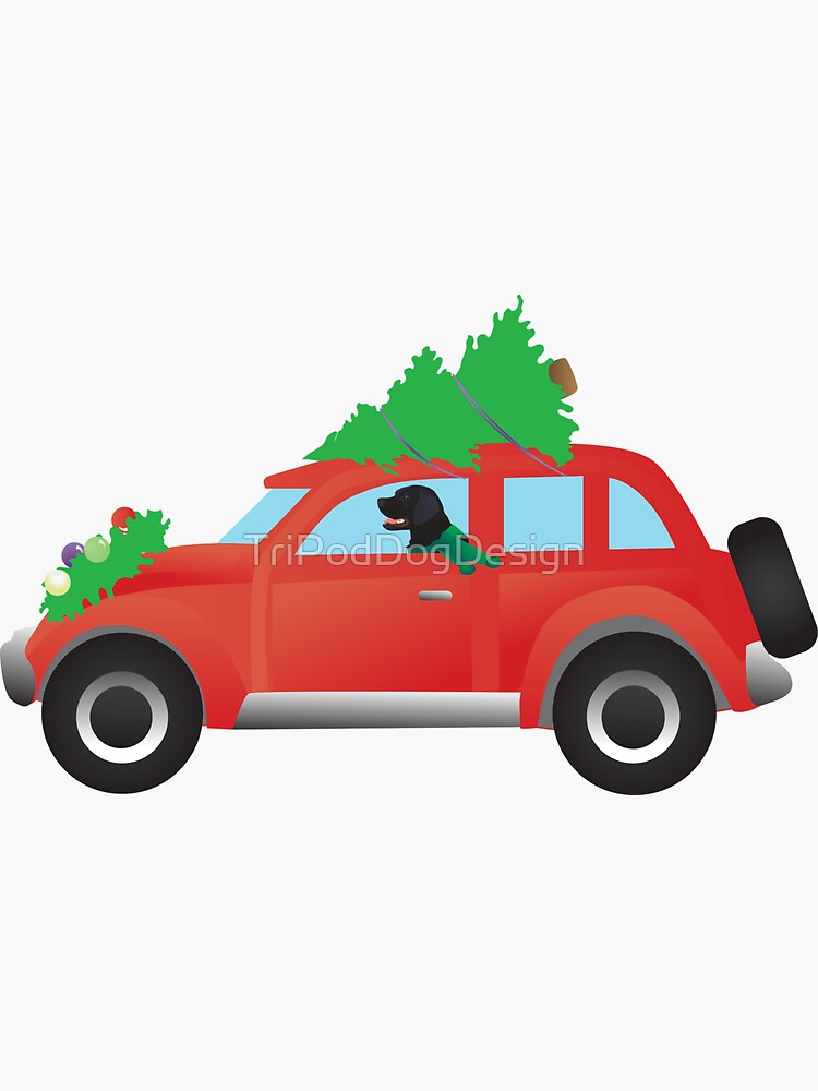 Flat-Coated Retriever Dog Driving Christmas Car with Tree on Top by TriPodDogDesign