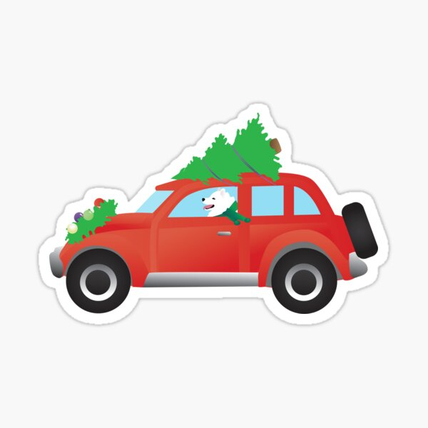 American Eskimo Dog Driving Christmas Car with Tree on Top Sticker