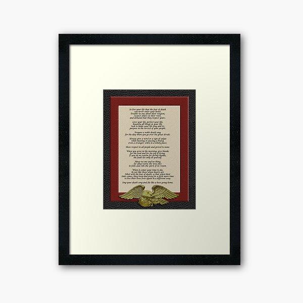 Live your life, Chief Tecumseh Framed Art Print