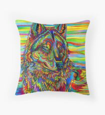 Colorful Psychedelic Rainbow Wolf Floor Pillow