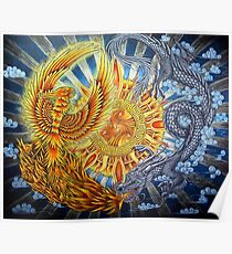 Chinese Phoenix and Dragon Mandala Poster