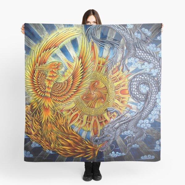 Chinese Phoenix and Dragon Mandala Scarf