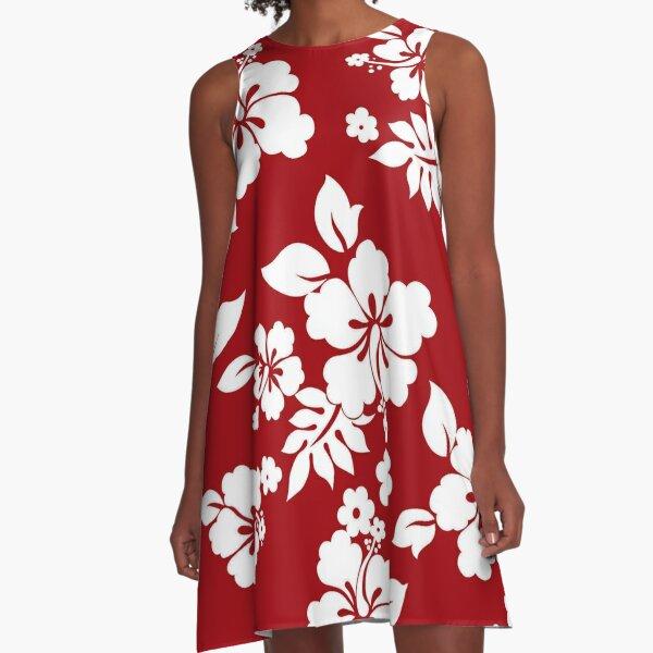 Hawaiian Pattern - Red A-Line Dress