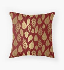Gold and Red Leaf Pattern Throw Pillow