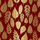 Gold and Red Leaf Pattern by tanyadraws