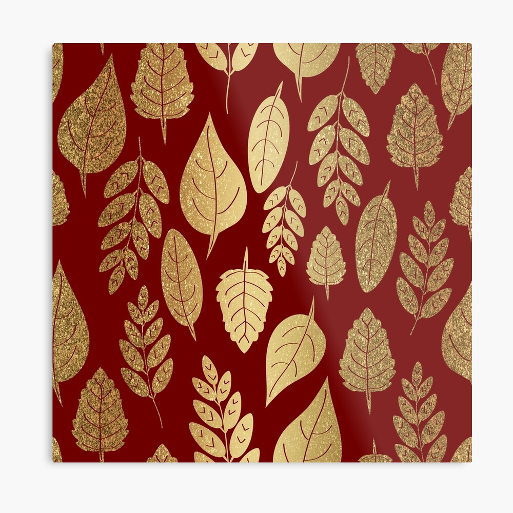 Gold and Red Leaf Pattern Metal Print