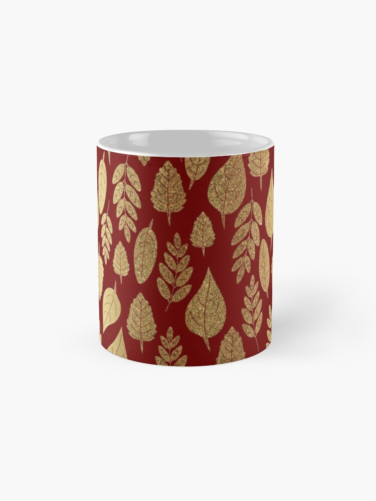 Alternate view of Gold and Red Leaf Pattern Mug