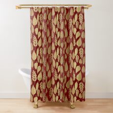 Gold and Red Leaf Pattern Shower Curtain
