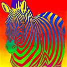 Psychedelic Colorful Rainbow Zebra by Rebecca Wang