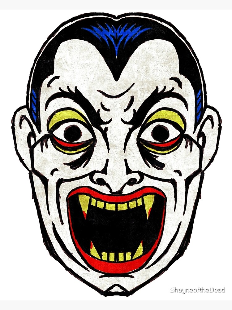 Dracula Vampire Vintage Halloween Mask Greeting Card By Shayneofthedead Redbubble
