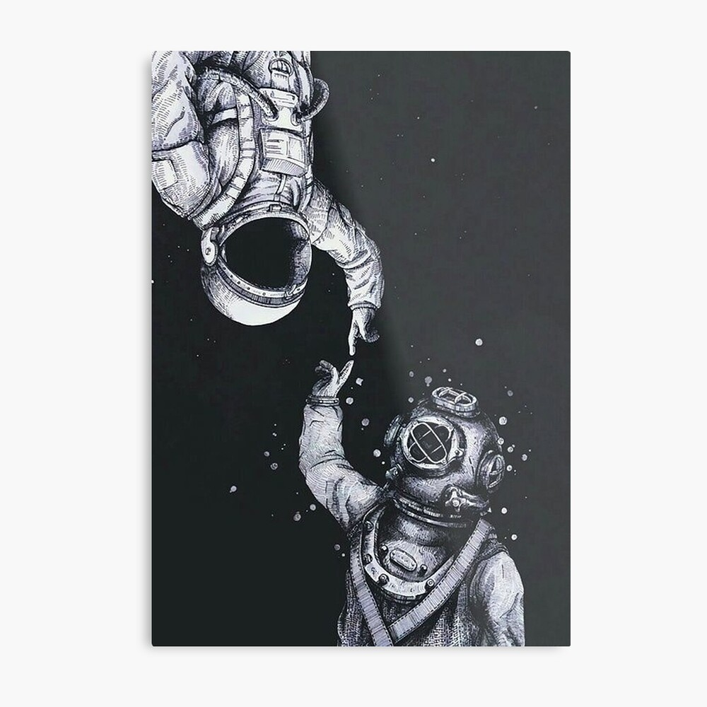 Astronaut und Taucher Metallbild