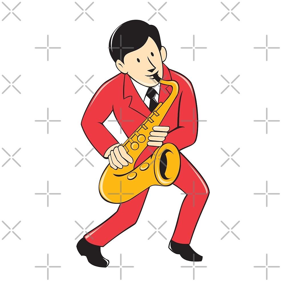 Musician Playing Saxophone Cartoon by patrimonio