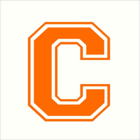 'Varsity Letter C Orange' Art Print by roselia