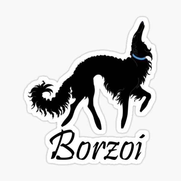 Black Borzoi Boy Sticker