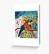 Three Parrots  Greeting Card
