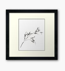 Bird on a bamboo branch Japanese Zen Sumi-e painting on white rice paper art print Framed Print