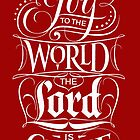 Joy to the World, the Lord is Come - Christian Religious Christmas Carol Chalkboard Lettering - Red by 26-Characters