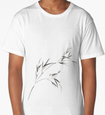 Bird on a bamboo branch Japanese Zen Sumi-e painting on white rice paper art print Long T-Shirt