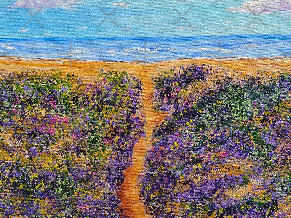 Lavender Beach- Ocean landscape- original art by artbykatsy