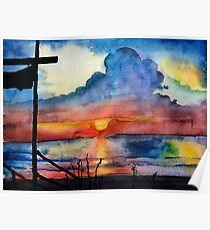 Sunset beach, Arambol, India, Goa, paper watercolor, ink pen Poster