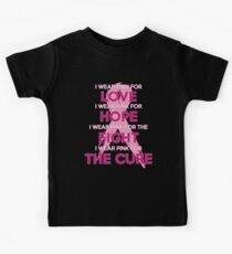 Breast Cancer Awareness. I Wear Pink For: Pink Ribbon Tshirt / Decor Kids Tee