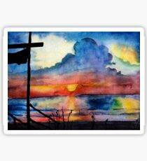 Sunset beach, Arambol, India, Goa, paper watercolor, ink pen Sticker