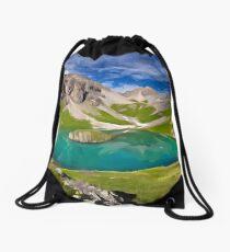 mountains with lake Drawstring Bag