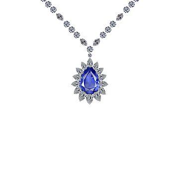 Delicate Sapphire Pendant Necklace by eldonshorey