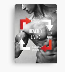 Healthy Living - Fitness Inspirational Infographic Canvas Print